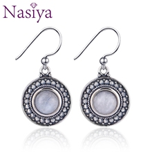 Ethnic Style Natural Round Moonstone 925 Sterling Silver Earrings For Women Vintage Jewelry Engagement Party Anniversary Gift top brand vintage ring for women 925 sterling silver jewelry high quality moonstone party anniversary wedding engagement gift