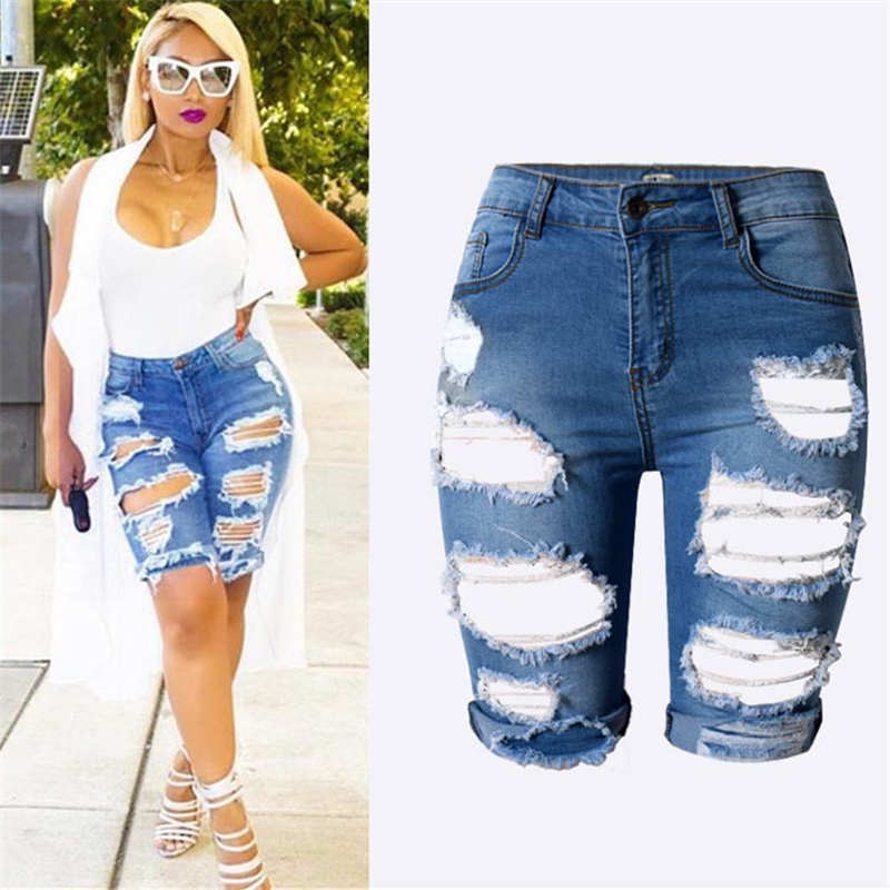 Stylish New Slim Skinny Ripped Hole Burrs Cut Off High Waist Knee ...