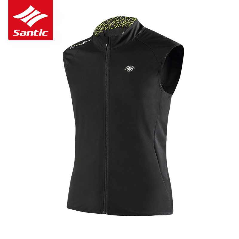 Santic Cycling Jacket Men Sleeveless Windproof MTB Road Bike Jacket Spring Autumn Warm Bicycle Jacket Maillot