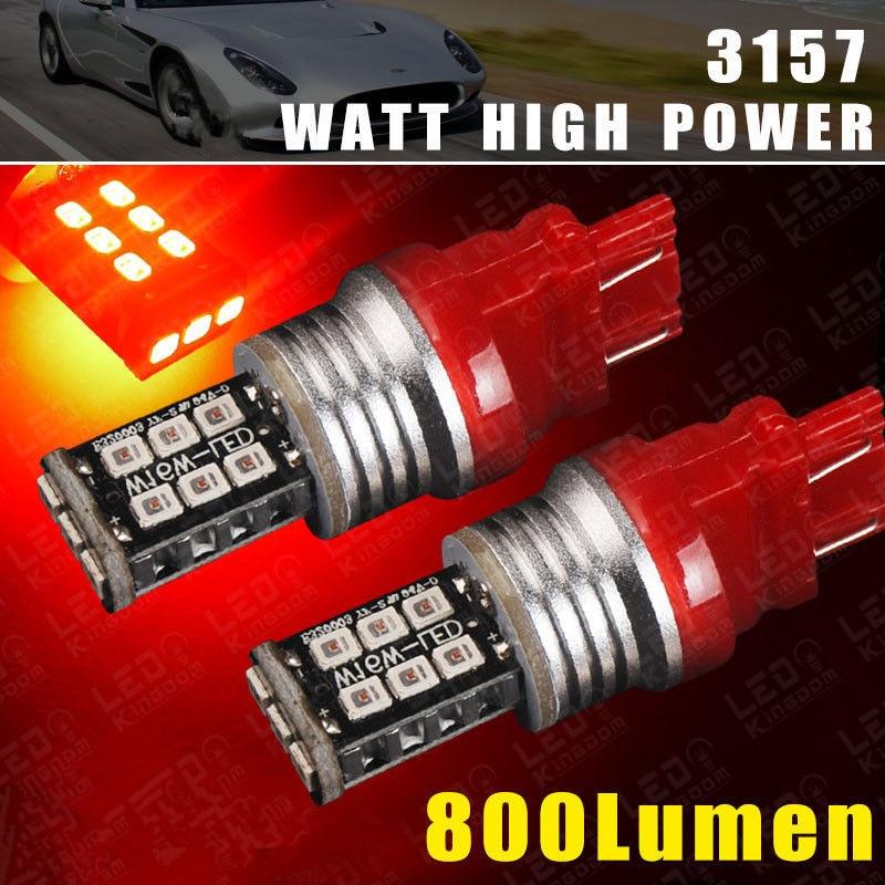 CYAN SOIL BAY 2X 3157/3156 T25 Super Red High Power 2538 Chip 15W LED Brake Tail Stop Light 3157A 3057 Bulb Lamp