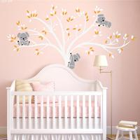 Super Huge Cute Tree Koala Wall Sticker Kid's Children's Room Background Backdrop Elaborately Carve Big Wall Sticker Home Decal