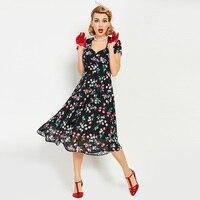 Sisjuly Vintage Dresses 1950s 60s Summer Mid Calf Women Short Sleeve Dress Square Neck 2017 New