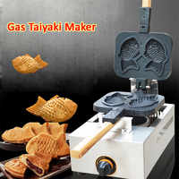Non-stick 2 Moulds Taiyaki Fish-shaped Waffle Machine Gas Fish Cake Taiyaki Baker Stove Commercial Use Wooden Handles