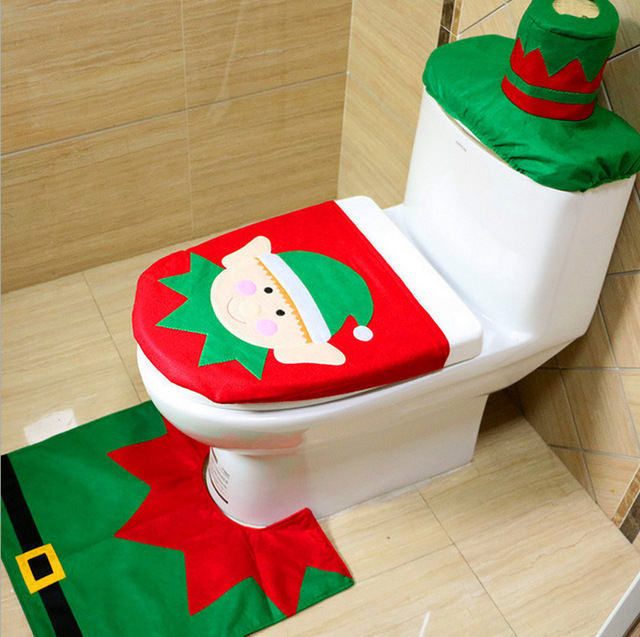 1 Sets Christmas Decorations Xmas Toilet Seat Cover And Rug Washroom Set Decorative Covers