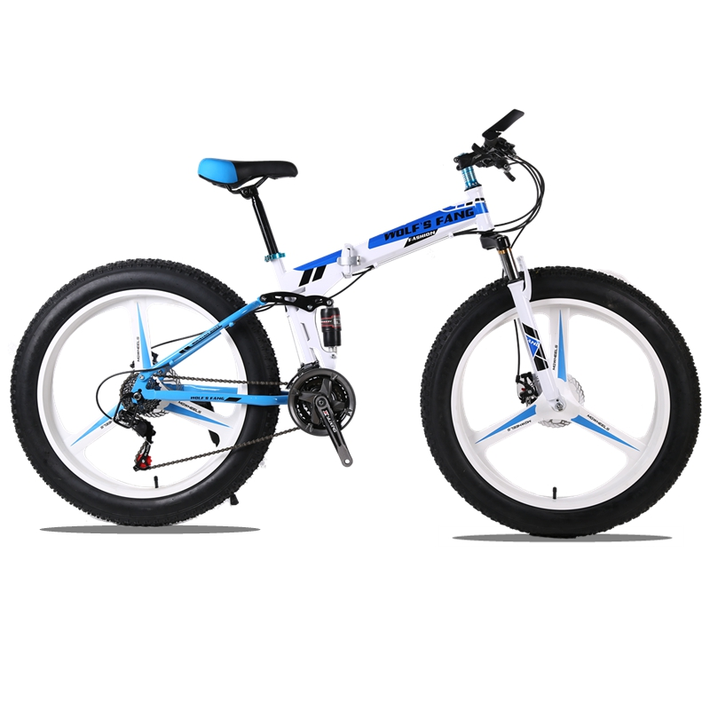 Mountain bike 24speed 26x4.0 Folding bike fat bike Double disc brakes Bicycles Snow Bike Front and rear damping bicycle road aluminum mountain road bicycle disc brakes w rotors black front rear