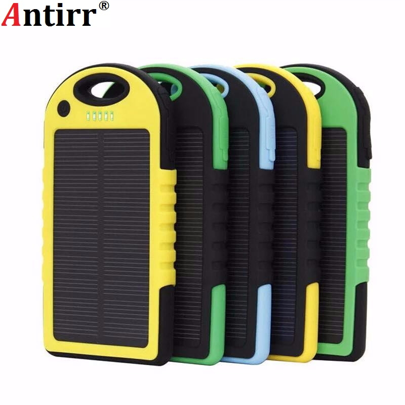 Universal solar power bank 5000mah Portable Waterproof Solar charger Dual-USB Solar <font><b>battery</b></font> Charger for <font><b>iphone</b></font> samsung all phone image