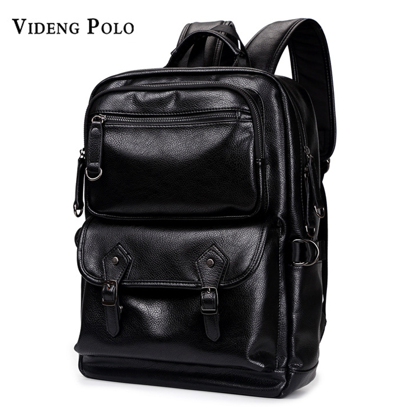 VIDENG POLO Brand Mens Leather Large Capacity Backpack For Shoulder Bags Men School Bags Fashion Solid Bag Daypacks Mochila kaukko large capacity shoulder bag mens traval canvas backpack unisex bags for teenager school knapsacks