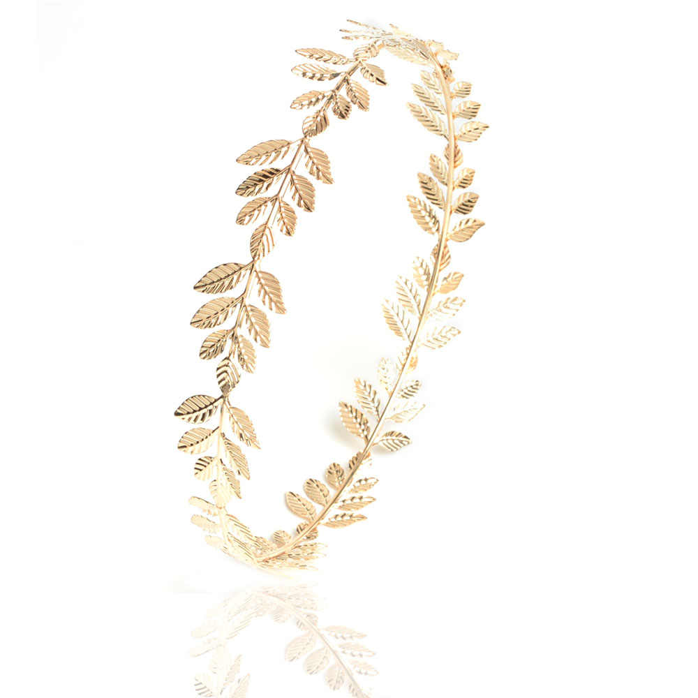 charm Gold-color Metal leaves hairband wedding party Bridal Baroque hair accessories for girl women bandeau cheveux scrunchie