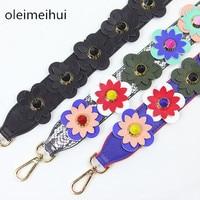 2016 Flower Strap You PU Leather colorful Rivet Stud Snake Strap for Women bag Multicolour Belt Width Crossbody Messenger Bags