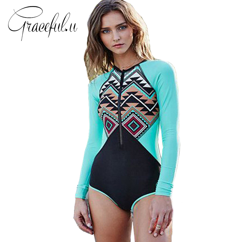 Womens Swimming Suit One Piece Swimsuit Long Sleeve Swimwear Women 2017 Floral Printed Bathing Suit Trikini Surfing Suit