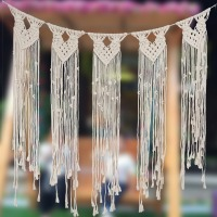 Handmade Boho Tassel Macrame Hanging Tapestry Curtain Door Decoration Wall Art Wedding Party Photo Props Backdrop Supply