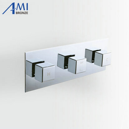 3 Dials 3 Ways Square Mixer Tap Chrome Brass Shower Valve Panel With Diverter Bathroom Faucet Tap