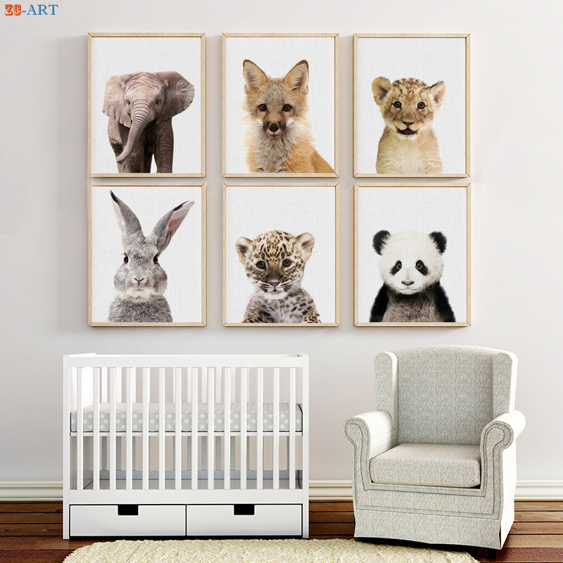 Us 3 24 28 Off Safari Animals Prints Canvas Painting Baby Bunny Lion Leopard Poster Woodland Nursery Wall Art Kids Bedroom Decoration Pictures In