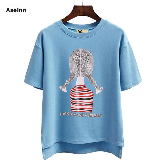 Aselnn New Fashion 2017 Spring Summer Loose Casual Women's Short Sleeve T Shirt O-neck Cartoon Girl Printing Elastic Tee Tops