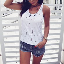 Fashion Summer Women Vest T-Shirts Sexy U Neck Sleeveless Camisole Tops Hole Hollow Out Solid Color Slim Tee Shirt Soft Hem Tops