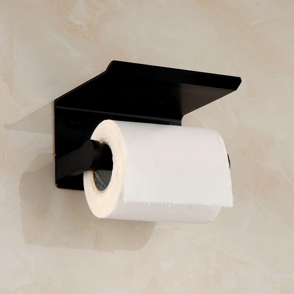 Wc Papier Zwart.Us 19 99 Ruimte Aluminium Zwart Toiletrolhouder Met Gsm Houder Wc Papier Doos Wandmontage Badkamer Accessoires Set 32 In Papierhouders Van
