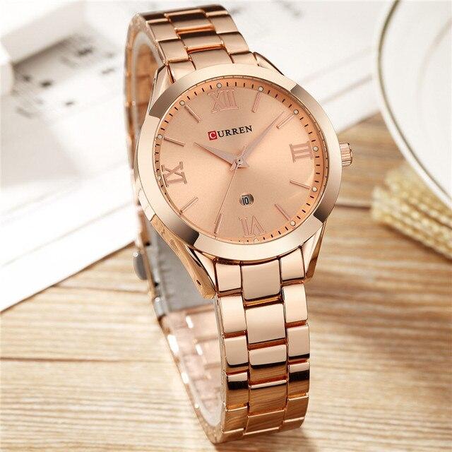 Часы Curren женские из нержавеющей стали, брендовые Роскошные наручные часы цвета розового золота, 2019, 2019