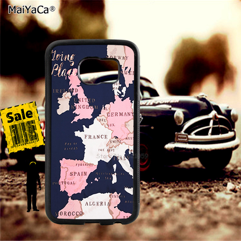 The map of europe soft TPU edge cell phone cases for samsung s6 edge plus s7 edge s8 s9 plus lite e note8 note9 cover case in Half wrapped Cases from Cellphones Telecommunications