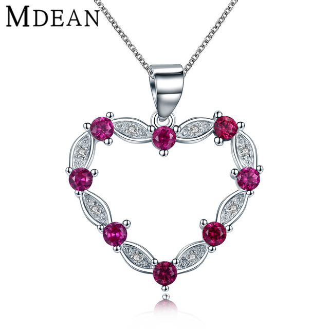Mdean 5.95Gram Heart Genuine 925 Sterling Silver Ruby Jewelry CZ Diamond Engagement Pendant Necklace for Women Gift Box MSN222
