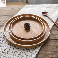 Creative Japanese Round 3 Size Natural Wood Tray Hotel Restaurant Serving Food Fruit Snacks Tea Cake