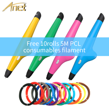 Anet Low temperature 3D Pen Drawing 3D Printing Pen with 2rolls PCL filament refills 3D Pen For kid Birthday Present VP05 3 colors low temperature gift box packing 3d pens for new year gift 3d printing pens for kid drawing with 10meter 10color pcl