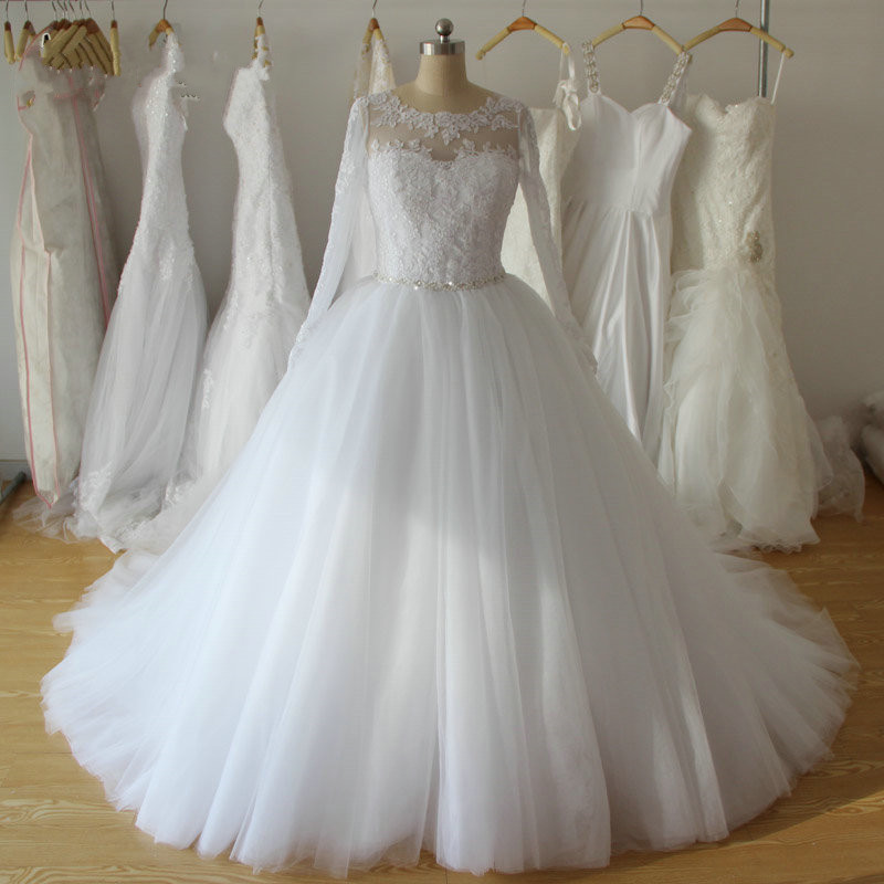 White Beaded Lace Appliques Ball Gown Wedding Dresses Long