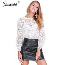 Simplee blusas белая выдалбливают top блузка фонарь рукав цветочные элегантный рубашка