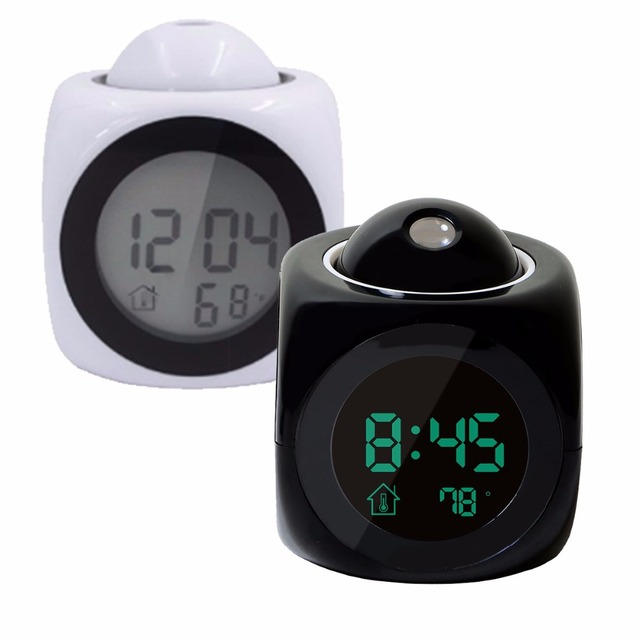 Digital LCD Projection LED Display Time Digital Alarm Clock Talking Voice Prompt Thermometer Snooze Function Desk Table Decor