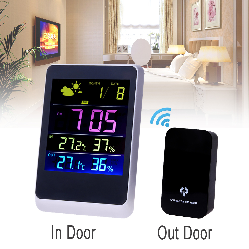 Wireless Weather Station Colorful LED Temperature Clock Thermometer Humidity Meter LED Multi-functional Weather Station