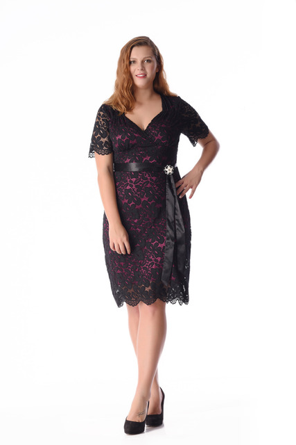 Esprlia Womens Plus Size Retro Glam Lace Dress With Belt Tail Formal