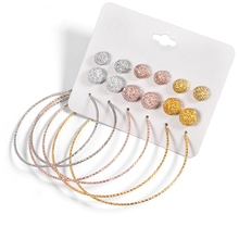 9 Pairs/lot Retro Crystal Ball Stud Earrings Set For Women Trendy Big Circle Earing Girl Piercing Jewelry Boucle d'oreille
