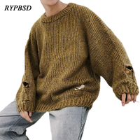 2018 Winter New Ripped Destroyed Hole Sweater Men Thick Round Neck Oversize Hip Hop Casual Men Pullover Knitted Sweater Tide