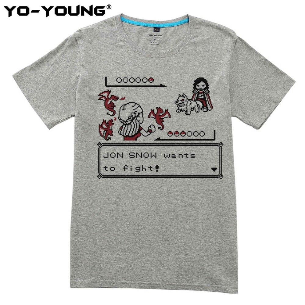 Game Of Thrones Men T Shirts Funny Jon Snow Pokemon Design Digital ...