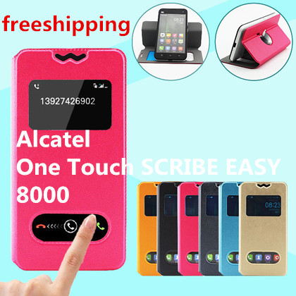 US $5 71 |For Alcatel One Touch SCRIBE EASY 8000 View Open Window Case Flip  Leather Back Cover Cases+ 6colors free shipping on Aliexpress com |