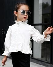 2016 autumn children's clothes girls blouse solid ruffled stand collar cotton baby girl blouses for girls big kids shirts