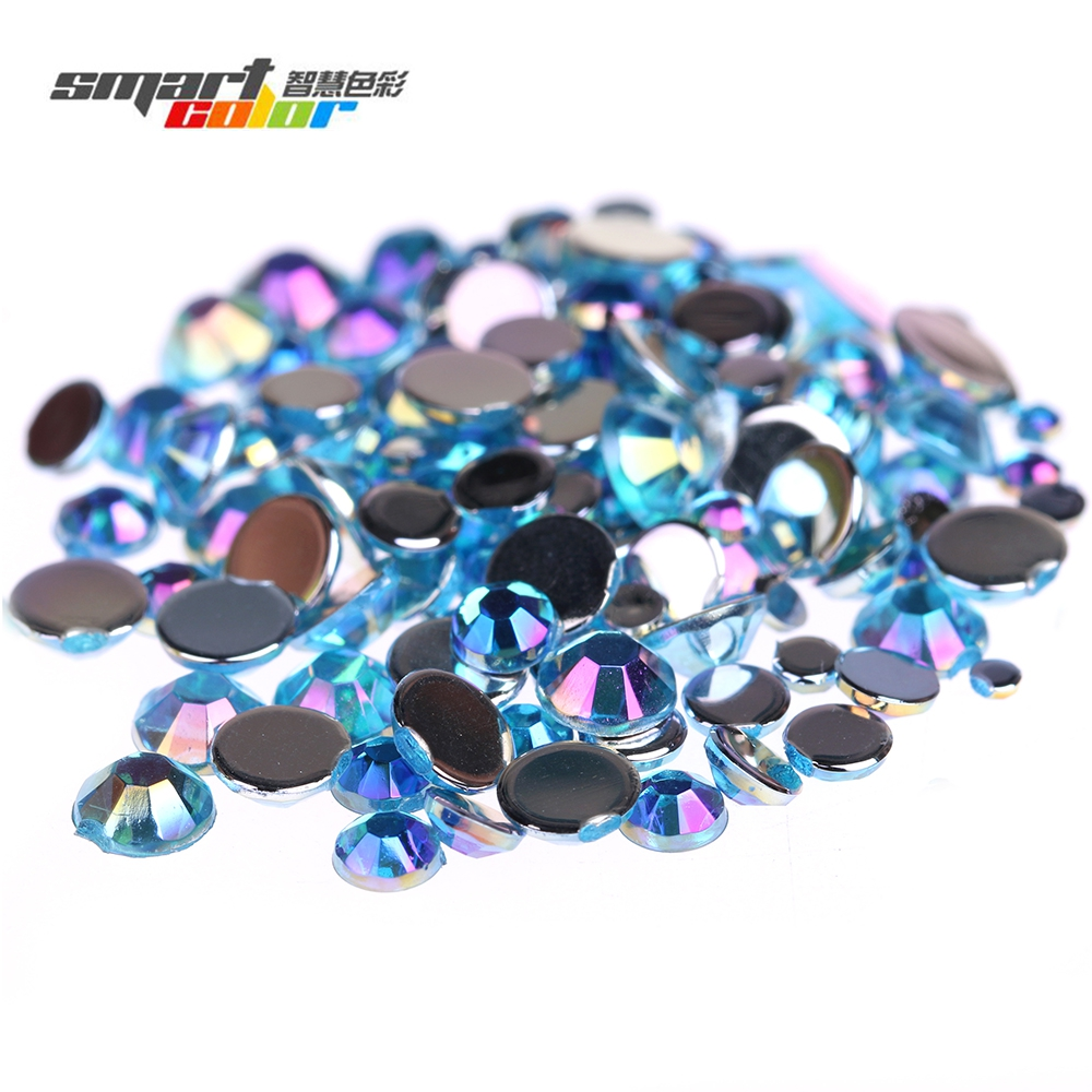 Smart Color Acrylic Rhinestones Aquamarine AB Color Shoes Clothing Decorations Sparkling Newest Nail Art Decorations Small Pack