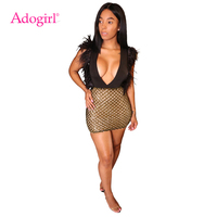 Adogirl Feather Sequins Bodycon Club Dress Women Sexy Deep V Neck Sleeveless Sheath Mini Party Dress Bar Performance Outfits