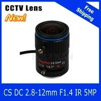 5Megapixel Varifocal CCTV Lens 2 8 12mm CS Mount DC IRIS For 1080P 4MP 5MP Box