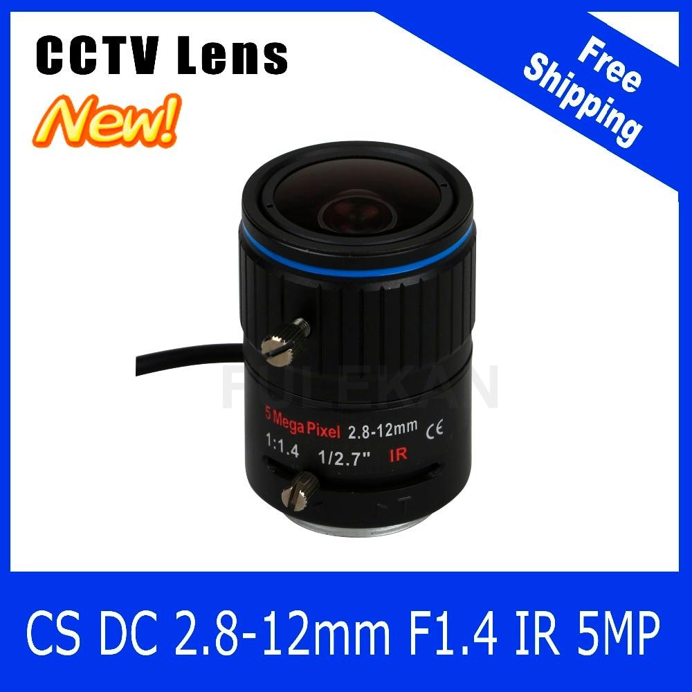 5Megapixel Varifocal CCTV Lens 2.8-12mm CS Mount DC IRIS For 1080P/4MP/5MP Box Camera/IP Camera Free Shipping 8megapixel varifocal cctv 4k lens 1 1 8 inch 3 6 10mm cs mount dc iris for sony imx178 imx274 box camera 4k camera free shipping