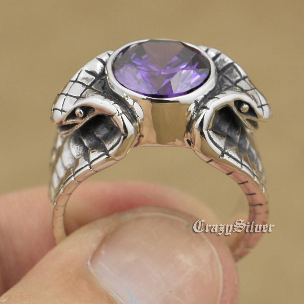 LINSION 925 Sterling Silver King Cobra Snake Ring Purple CZ Biker Rocker Punk Style 9K033 US Size 8~14 стоимость