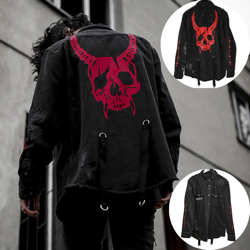FUNKLOUZ Hip Hop Men Denim Jacket Skull Print Streetwear Coat Plus Size S-XXXL