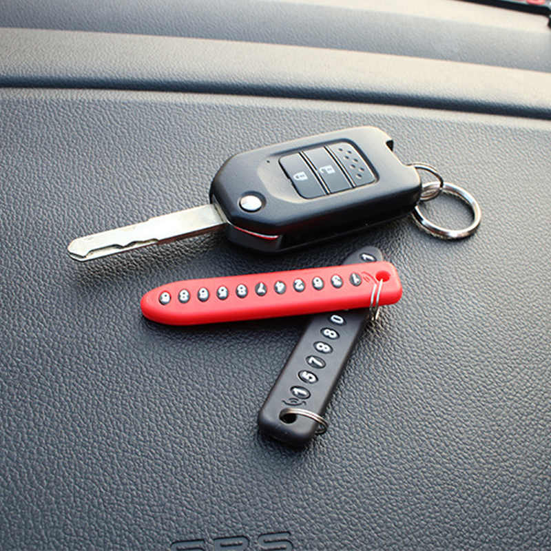 抗ロスト電話ナンバープレートの車のキーホルダーペンダント自動車電話番号カードキーリングキーチェーン車のインテリアドロップシッピング
