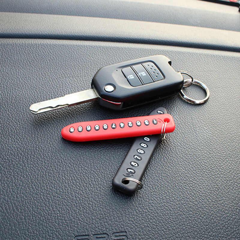 Anti-perdido Do Telefone Número Da Placa Do Carro Chaveiro Pingente Chaveiro Chave Da Cadeia de Cartão de Número de Telefone Do Veículo Auto Carro Interior Dropshipping