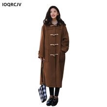 Women's Winter Coat Horn Button Loose Overcoat Blended Woolen Long Sleeves Hooded Casual Solid Coat Female Jacket IOQRCJV F12