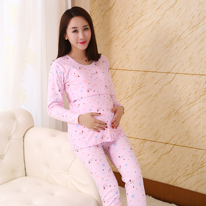 2018 spring cotton maternity clothes pregnancy nightgown breastfeeding sleepwear for pregnant women nursing pajamas set homewear