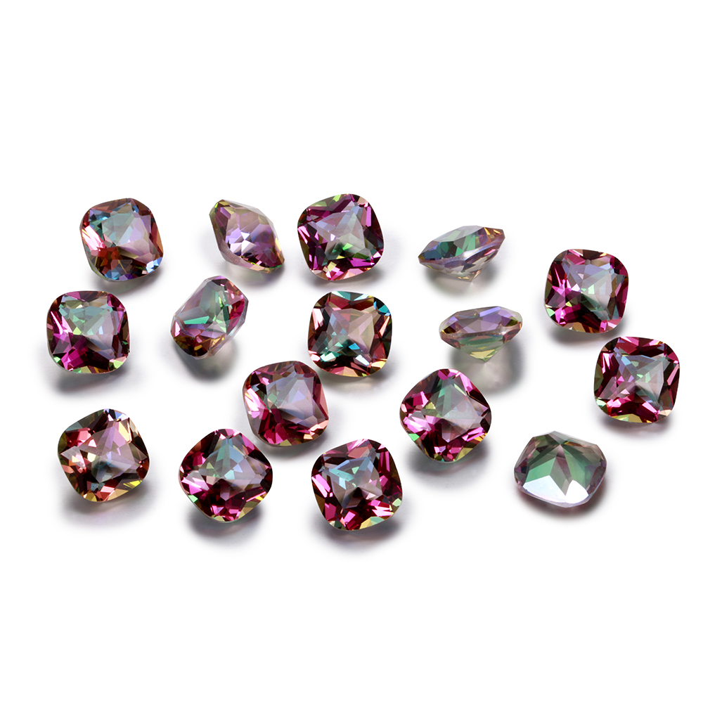 Loose Gemstone Jewelry Topaz Rainbow Cut 9x9mm Square Mystery Top-Brand 10pcs/Set