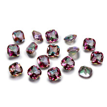 1.5-2.5ct Top Brand Rainbow Mystery Topaz Loose Gemstone 9x9MM Square Cut Stones Jewelry Decoration Stone 10 pcs/set