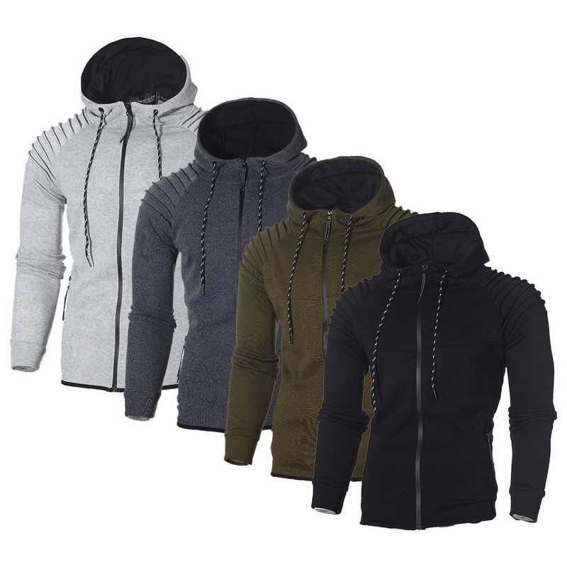 Мужской однотонный кардиган на молнии с капюшоном, весенние черные толстовки на молнии, мужские повседневные толстовки с длинными рукавами, мужская куртка
