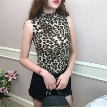 2019 Spring Summer Woman Sleeveless Vintage Turtleneck Leopard Print Sexy Club T Shirt Slim Fit Dance Casual Tops