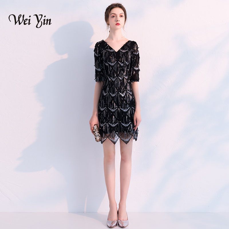 weiyin Black 1/2 Long Sleeves Sequined   Cocktail     Dresses   Mini Short Straight Party Evening Gowns Formal Prom   Dresses   WY749